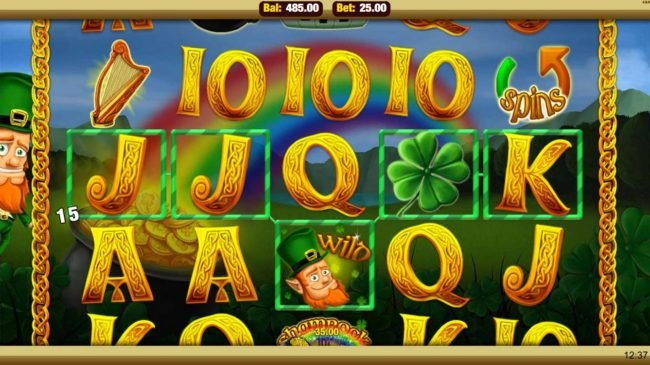 Mobireels featuring the Video Slots Shamrock 'n' Roll with a maximum payout of $25,000