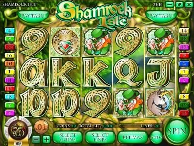 Play slots at Irish Luck: Irish Luck featuring the Video Slots Shamrock Isle with a maximum payout of $12,500
