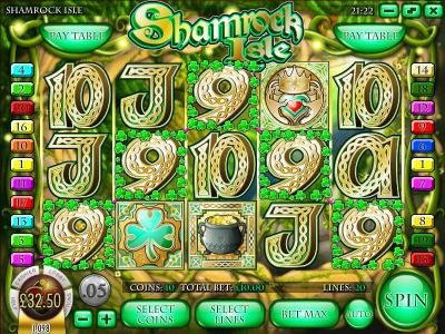 Rockbet featuring the Video Slots Shamrock Isle with a maximum payout of $12,500