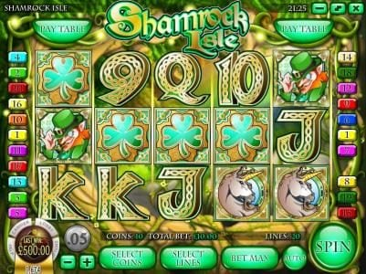 Euro Bets featuring the Video Slots Shamrock Isle with a maximum payout of $12,500