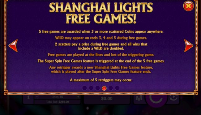 Slots of Vegas featuring the Video Slots Shanghai Lights with a maximum payout of $250,000
