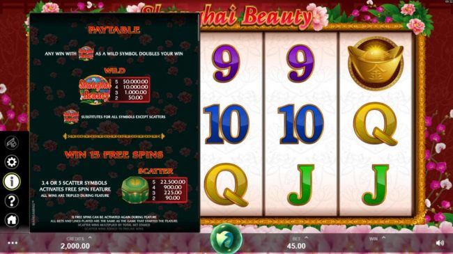 Yukon Gold featuring the Video Slots Shanghai Beauty with a maximum payout of $50,000