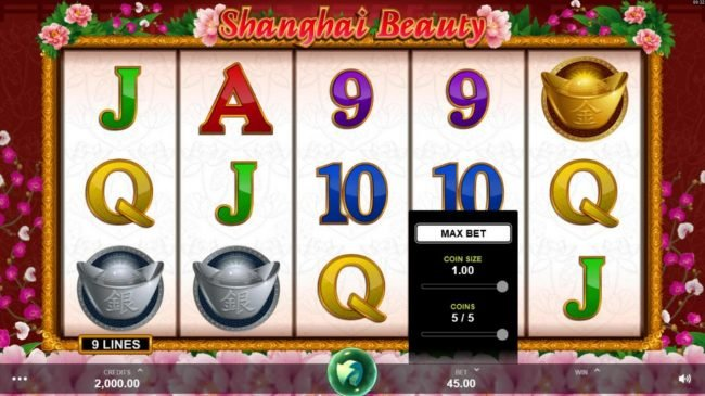 Sin Spins featuring the Video Slots Shanghai Beauty with a maximum payout of $50,000
