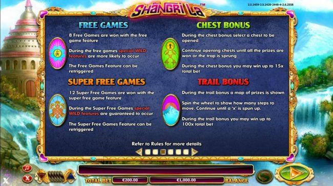 Four Available Bonus Games - Free Games, Super Free Games, Chest Bonus and Trail Bonus.