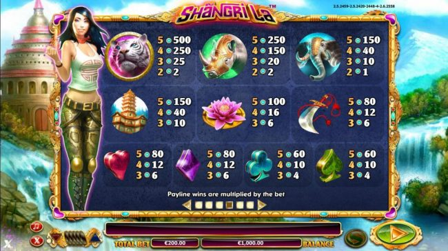 Slot game symbols paytable featuring mythical paradise inspired icons.