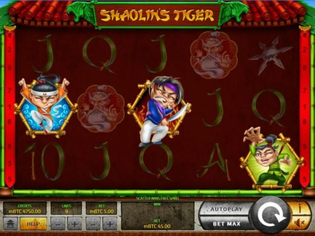 Royale24 featuring the Video Slots Shaolin's Tiger with a maximum payout of $25,000