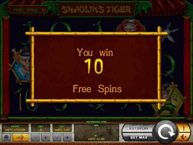 24 Vip featuring the Video Slots Shaolin's Tiger with a maximum payout of $25,000