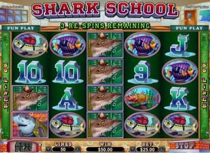 Play slots at Platinum Reels: Platinum Reels featuring the Video Slots Shark School with a maximum payout of $7,500