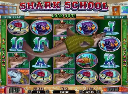 Bad Sharky swims across the screen changing symbols into wild synbols thus increasing your chance at winning