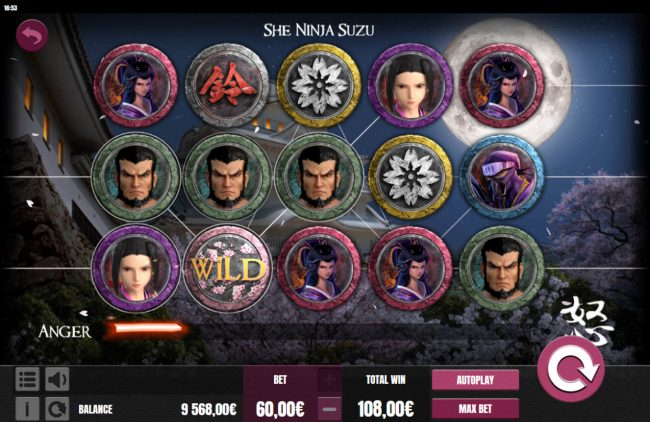 Viggoslots featuring the Video Slots She Ninja Suzu with a maximum payout of $15,000