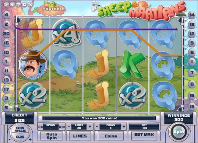 Joe Fortune featuring the Video Slots Sheep and Martians with a maximum payout of $250,000