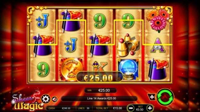 Vera&John featuring the Video Slots Sheer Magic with a maximum payout of $100,000