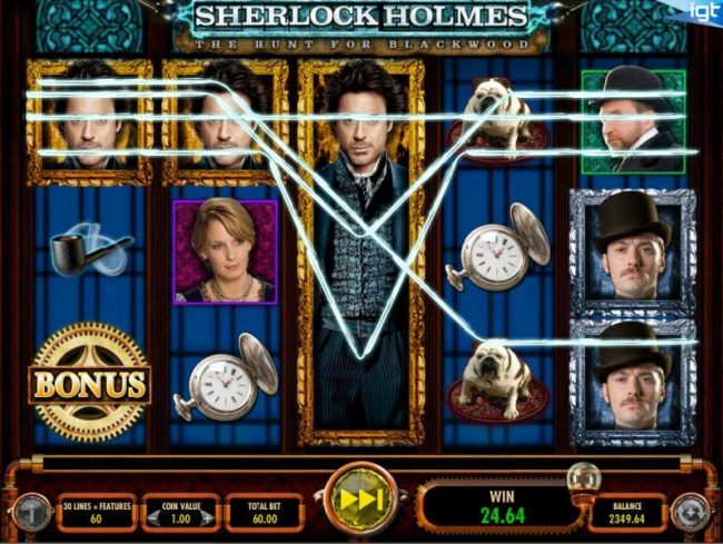 Caesars featuring the Video Slots Sherlock Holmes The Hunt for Blackwood with a maximum payout of $250,000