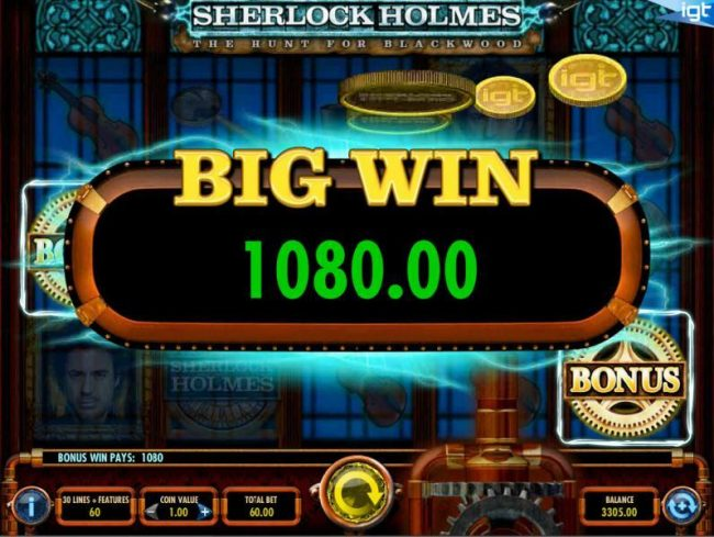 Vegas Baby featuring the Video Slots Sherlock Holmes The Hunt for Blackwood with a maximum payout of $250,000