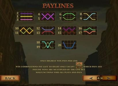 Payline Diagrams 1-20 Line wins pay left to right except scatters which pays any. Payline wins are multiplied by the line bet.