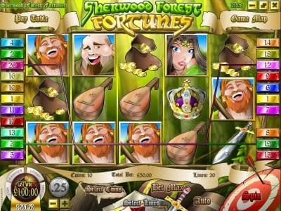 Mayan Fortune featuring the Video Slots Sherwood Forest Fortunes with a maximum payout of $25,000