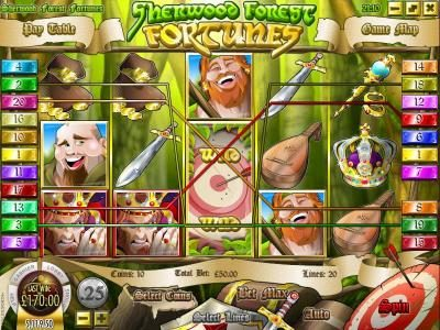 Box24 featuring the Video Slots Sherwood Forest Fortunes with a maximum payout of $25,000