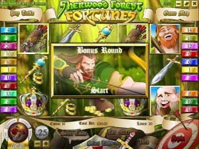 Euro Fortune featuring the Video Slots Sherwood Forest Fortunes with a maximum payout of $25,000