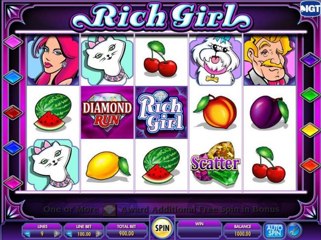 Casino Club featuring the Video Slots She's a Rich Girl with a maximum payout of $250,000