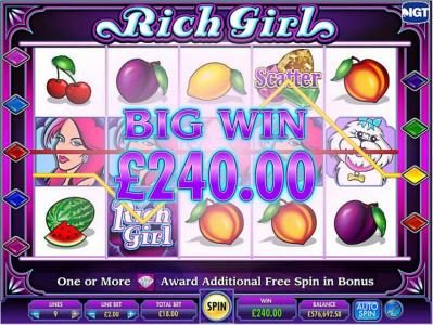Kerching featuring the Video Slots She's a Rich Girl with a maximum payout of $250,000