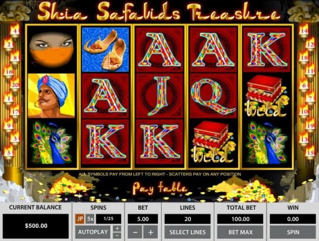 Slots Village featuring the Video Slots Shia Safavids Treasure with a maximum payout of $12,500