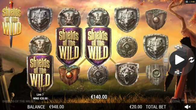 Clover Casino featuring the Video Slots Shields of the Wild with a maximum payout of $2,500