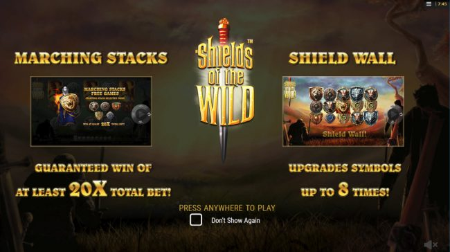 Euro King featuring the Video Slots Shields of the Wild with a maximum payout of $2,500