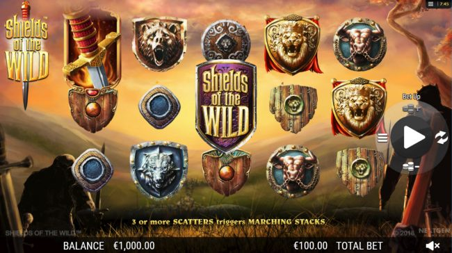 Casino Extra featuring the Video Slots Shields of the Wild with a maximum payout of $2,500