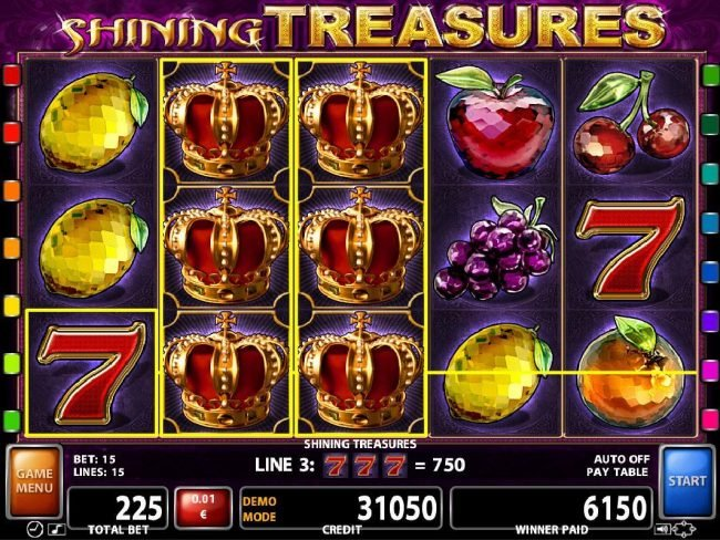 Argo featuring the Video Slots Shining Treaures with a maximum payout of $62,500