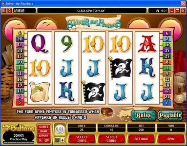 VipSpel featuring the Video Slots Shiver Me Feathers with a maximum payout of $30,000