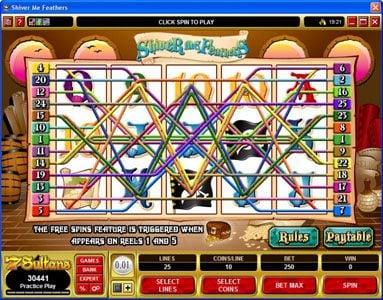 Cinema featuring the Video Slots Shiver Me Feathers with a maximum payout of $30,000
