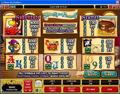 Spin Palace featuring the Video Slots Shiver Me Feathers with a maximum payout of $30,000