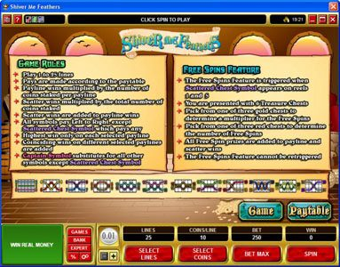Casino Extra featuring the Video Slots Shiver Me Feathers with a maximum payout of $30,000