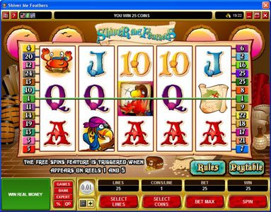 18 Bet featuring the Video Slots Shiver Me Feathers with a maximum payout of $30,000