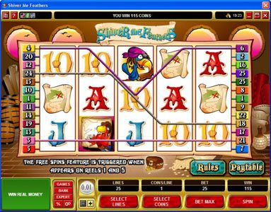 Casino Action featuring the Video Slots Shiver Me Feathers with a maximum payout of $30,000