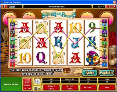 Play slots at Cabaret Club: Cabaret Club featuring the Video Slots Shiver Me Feathers with a maximum payout of $30,000