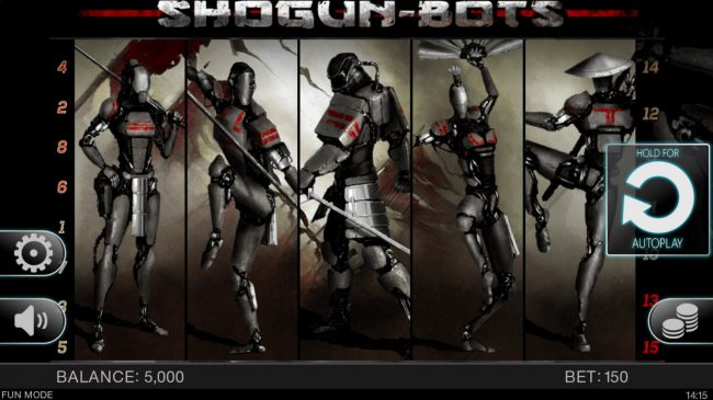 CryptoWild featuring the Video Slots Shogun Bots with a maximum payout of $15,000
