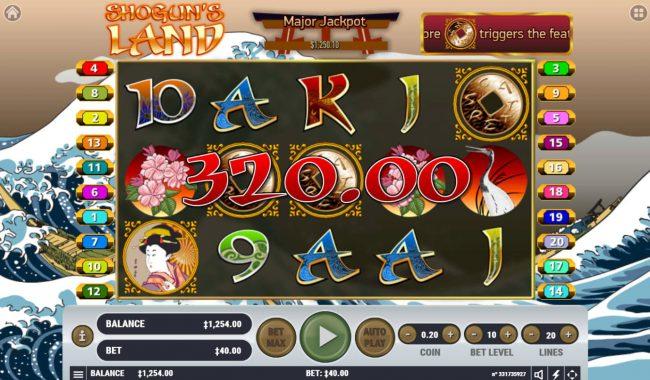 Shogun's Land :: Scatter win triggers the bonus feature