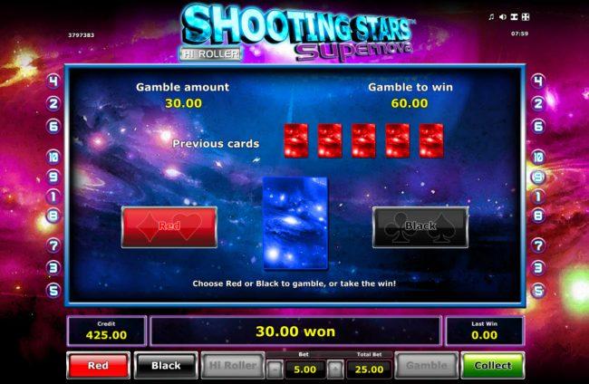 Shooting Stars Supernova :: Gamble Feature Game Board