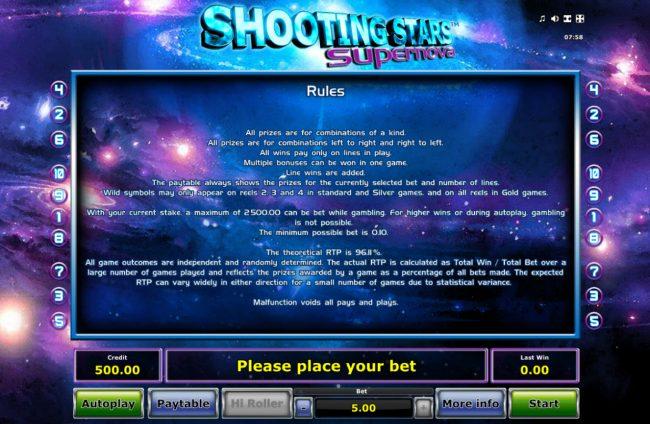 Shooting Stars Supernova :: General Game Rules