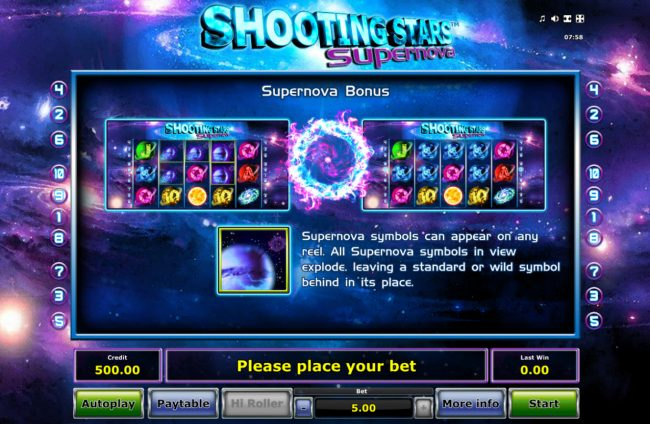 My Bet featuring the Video Slots Shooting Stars Supernova with a maximum payout of $2500
