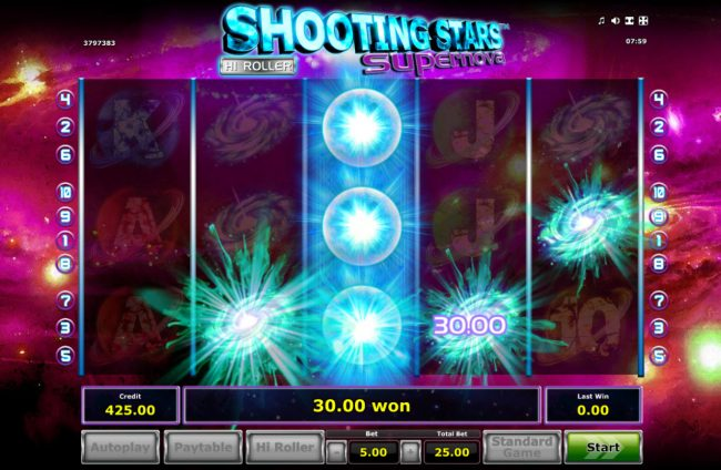 Shooting Stars Supernova :: Respin feature triggers multiple winning combinations