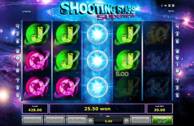 Shooting Stars Supernova :: Multiple winning paylines triggers a big win