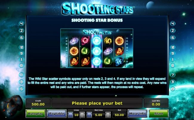 Shooting Star Bonus - The Wild Star symbols appear only on reels 2, 3 and 4. If any land in view they will expand to fill the entire reel and any wins are paid.
