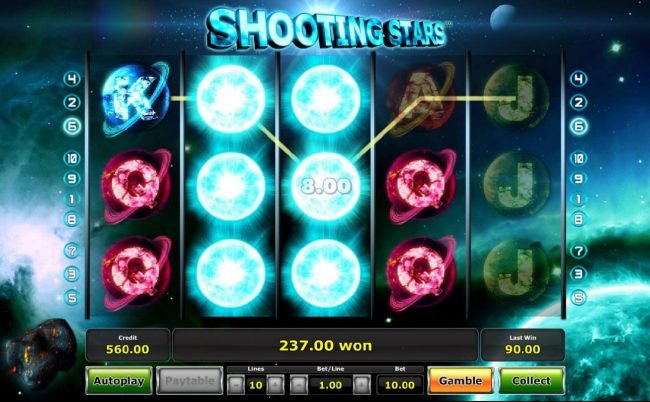 A 237.00 big win triggered during the Shooting Star Bonus.