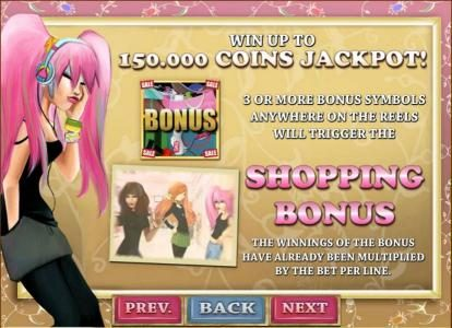 Wicked Bet featuring the Video Slots Shopping Mania with a maximum payout of $750,000