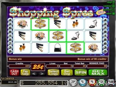 Bovegas featuring the Video Slots Shopping Spree with a maximum payout of $100,000