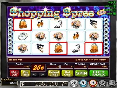 Casino Midas featuring the Video Slots Shopping Spree with a maximum payout of $100,000