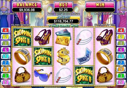 Lock featuring the Video Slots Shopping Spree II with a maximum payout of $100,000