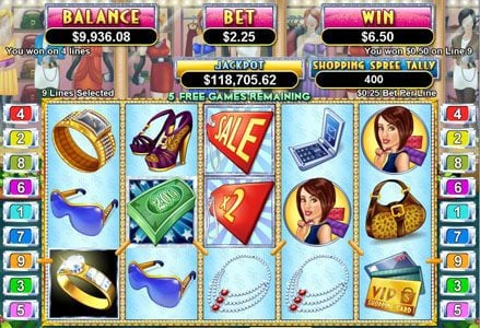 Play slots at Uptown Aces: Uptown Aces featuring the Video Slots Shopping Spree II with a maximum payout of $100,000